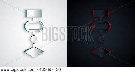 Paper Cut Algorithm Icon Isolated On Grey And Black Background. Algorithm Symbol Design From Artific