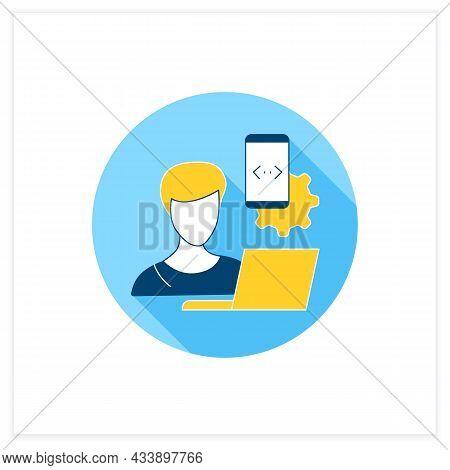 Mobile App Developer Flat Icon.making Software For Smartphones.development Mobile Application. Workp