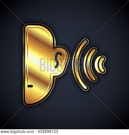 Gold Ear Listen Sound Signal Icon Isolated On Black Background. Ear Hearing. Vector