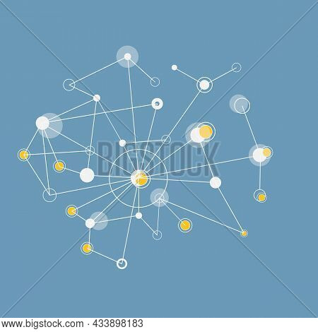 Network Connectivity Design. Communication Cyan Structure. Abstract Dots And Lines Vector Background
