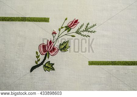 Embroidered Between Green Ribbons, A Twig With A Red Roses And A Bud, Intertwined With A Coniferous