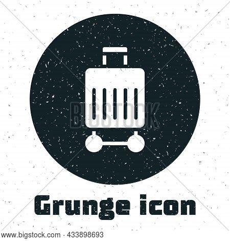 Grunge Suitcase For Travel Icon Isolated On White Background. Traveling Baggage Sign. Travel Luggage