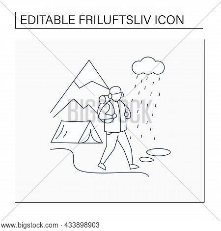 Friluftsliv Line Icon. Hiking. Rainy. Bad Weather. Man Walking. Mountain Landscape.nordic Outdoor Ac
