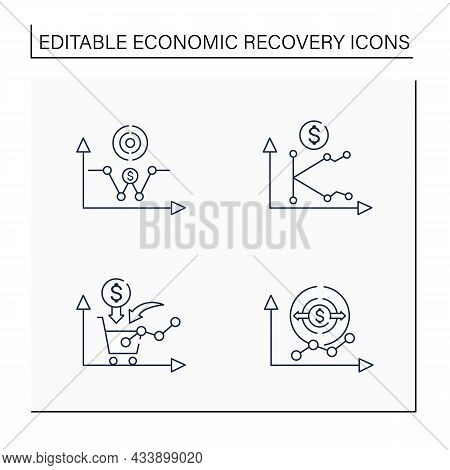 Economic Recovery Line Icons Set. Economy Expansion, Growth Consumer Demand, K, W Shaped Recovery. G