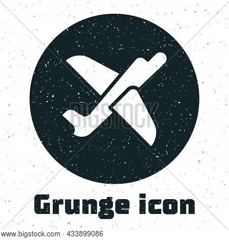 Grunge Toy Plane Icon Isolated On White Background. Flying Airplane Icon. Airliner Sign. Monochrome
