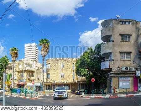 Haifa, Israel - September 23, 2021: Street Scene In Hadar Hacarmel Neighborhood, With International