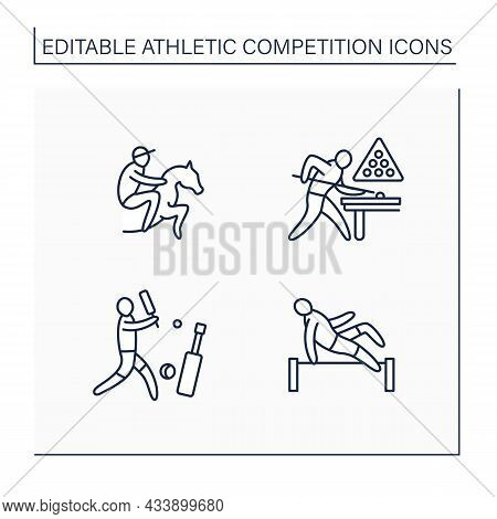 Athletic Competition Line Icons Set. Different Kinds Of Sport. Athletics, Cricket, Snooker, Horse Ra