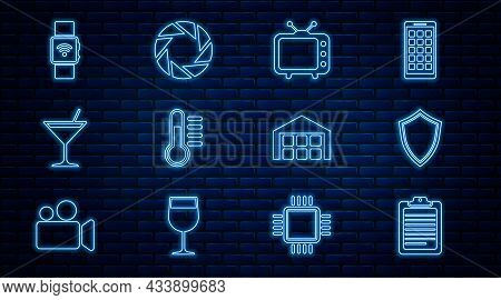 Set Line Clipboard With Document, Shield, Television Tv, Thermometer, Martini Glass, Smartwatch Wire