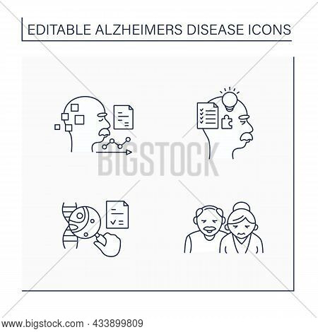 Alzheimer Disease Line Icons Set. Cognitive, Memory, Genetic Testing, Statistics. Elderly Man And Wo
