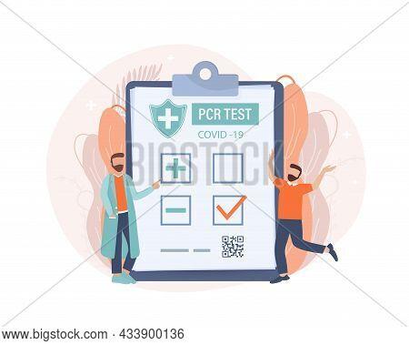 Illustration With Negative Pcr Test People For Paper Design. Vector Illustration. Covid Test.