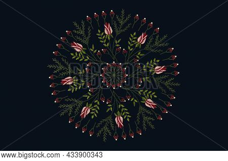 Round Embroidery Pattern Of Twigs With Red Rosebuds And Petals Intertwined With A Coniferous Branch