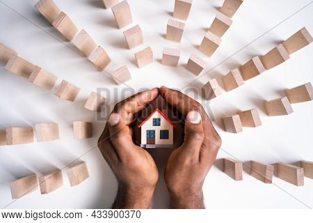 Real Estate House Insurance. Domino Chain Challenge And Risk Protection