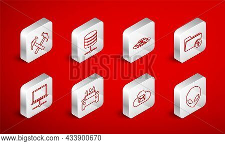 Set Line Alien, Server, Data, Web Hosting, Ufo Flying Spaceship, Unknown Directory, Cloud Mail Serve