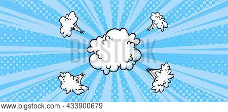 Surprising Boom Cloud In Halftone Background For Sales And Promotions. Blue Banner Template For Surp