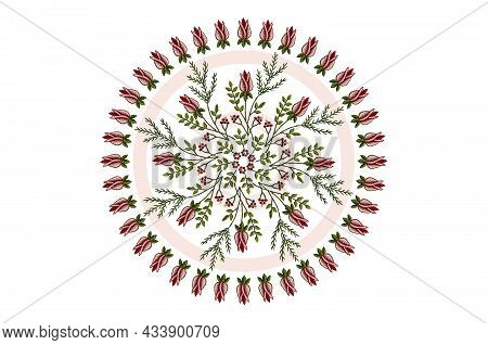 Round Wreath For Embroidery With A Frame Of Rosebuds With Intertwining Branches Of Red Rose Buds Wit