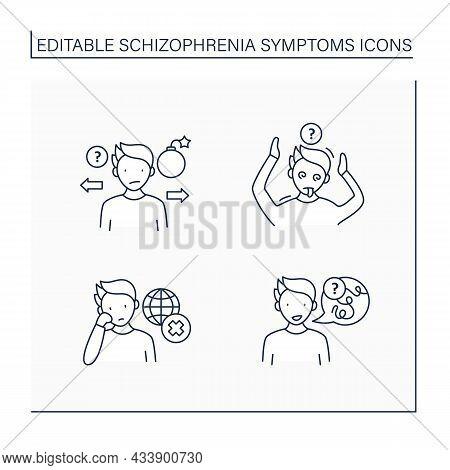 Schizophrenia Symptoms Line Icons Set. Speech Difficulties, Abnormalities, Disinterest. Behaviors Ap