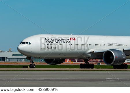 May 11, 2021, Moscow, Russia. Wide-body Passenger Aircraft Boeing 777 Of Nordwind Airlines On The Ai