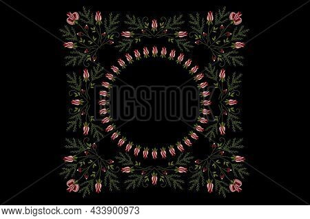 Pattern For Embroidery Of A Square Frame With Borders Of Intertwining Branches Of Red Rose Buds With