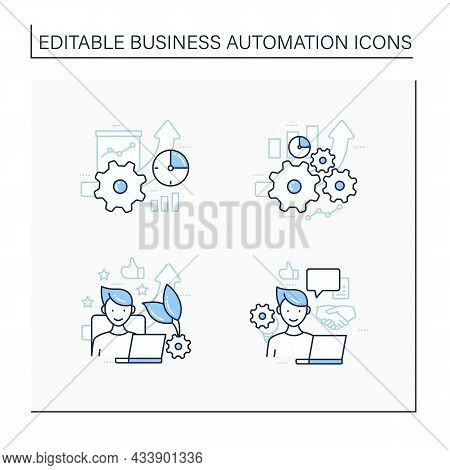 Business Automation Line Icons Set. Increased Efficiency, Favorite Job, Open Collaboration, Greater