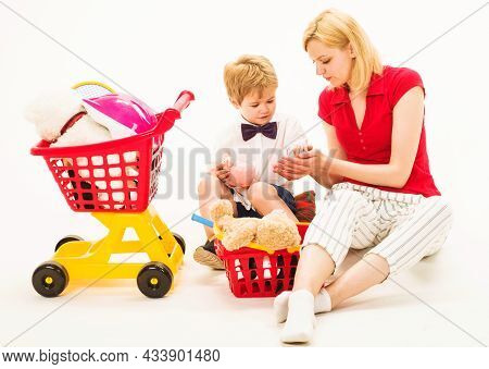 Cute Mother And Child Boy Plays Together. Family Relationships. Playing Supermarket. Mother Play Wit