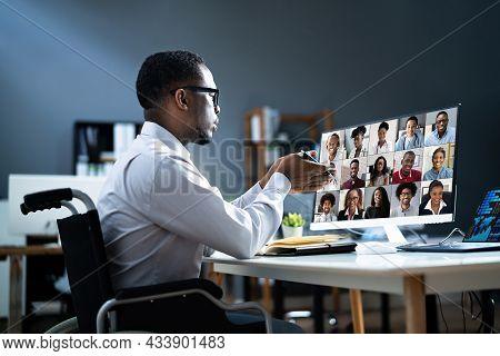 Online Virtual Teleworking Meeting On Computer. Video Webinar