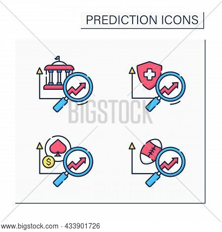 Predictive Analytics Color Icons Set. Health Insurance, Government, Casinos, Sports Predictive Analy