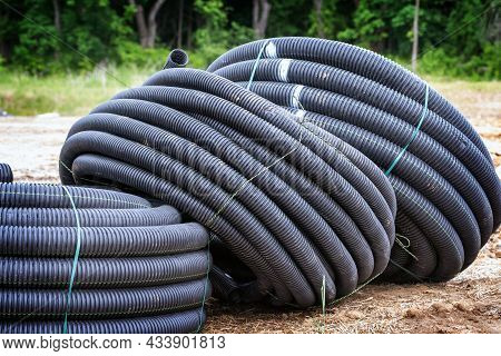 Black Plastic Pipes For Water Supply And Sewerage Prepared For Installation Or Repair Of The Water S