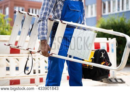 Step Ladder Safety. Handyman Or Repair Man