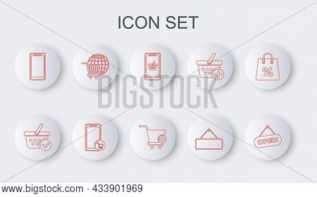 Set Line Hanging Sign With Open Door, Shopping Basket Check Mark, Mobile And Shopping, Signboard Han