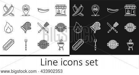 Set Line Barbecue Grilled Shish Kebab, Hot Chili Pepper Pod, Oven Glove, Fire Flame, Crossed Hot, Kn