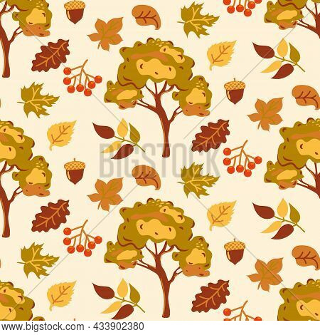 Autumn Seamless Pattern With Yellow And Orange Leaves On A Beige Background. Abstract Autumn Pattern