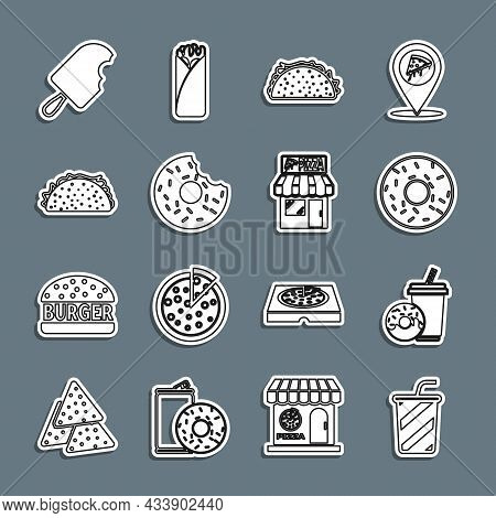 Set Line Glass With Water, Soda Drink Donut, Donut, Taco Tortilla, Ice Cream And Pizzeria Building F