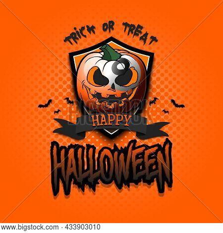 Happy Halloween. Logo Billiard Ball As Pumpkin
