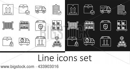 Set Line Scale With Cardboard Box, Cardboard Boxes On Pallet, Delivery Truck Check Mark, Warehouse,