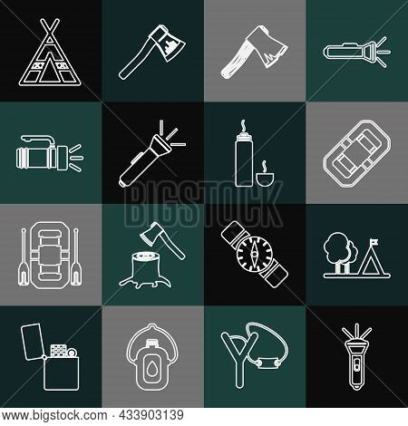 Set Line Flashlight, Tourist Tent With Flag, Rafting Boat, Old Wooden Axe, And Thermos Container Ico