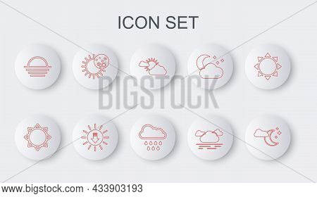 Set Line Cloud With Moon And Stars, Sun, Cloud Weather, Sunset, Eclipse Of Sun, And Rain Icon. Vecto