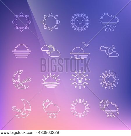 Set Line Cloud With Rain And Moon, Eclipse Of The Sun, Stars, Sun, Cloud Weather, Sunset, And Icon.