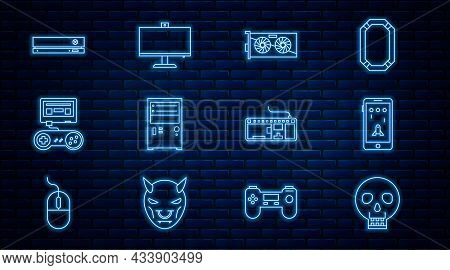 Set Line Skull, Mobile And Playing In Game, Video Graphic Card, Computer, Game Console With Joystick
