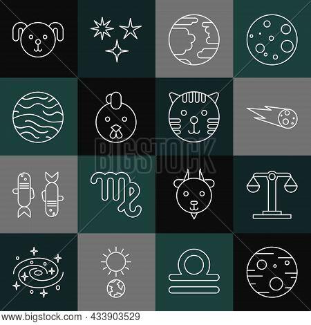 Set Line Planet Mars, Libra Zodiac, Comet Falling Down Fast, Mercury, Rooster, Venus, Dog And Tiger