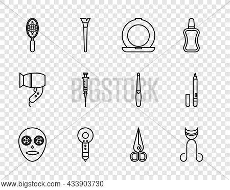 Set Line Facial Cosmetic Mask, Eyelash Curler, Makeup Powder With Mirror, Hair Dryer, Hairbrush, Syr