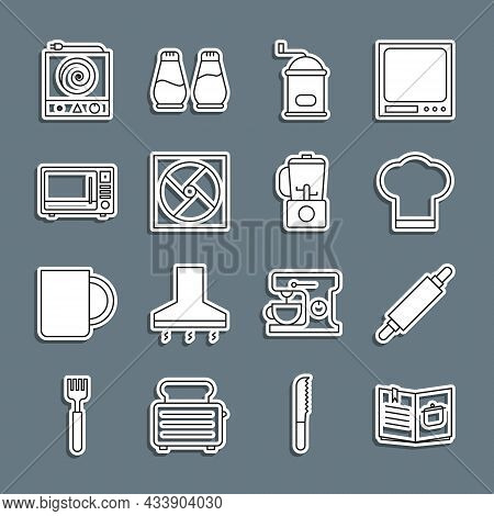 Set Line Cookbook, Rolling Pin, Chef Hat, Manual Coffee Grinder, Ventilation, Microwave Oven, Electr