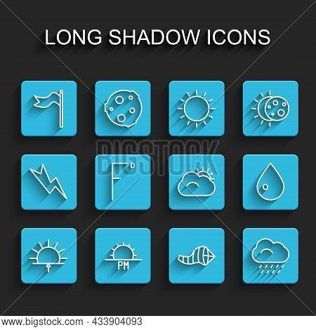 Set Line Sunrise, Sunset, Meteorology Windsock Wind Vane, Cone Meteorology, Cloud With Rain, Fahrenh