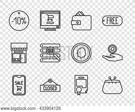 Set Line Mobile Phone And Shopping Cart, Wallet, With Paper Money Cash, Hanging Sign Closed, Ten Dis