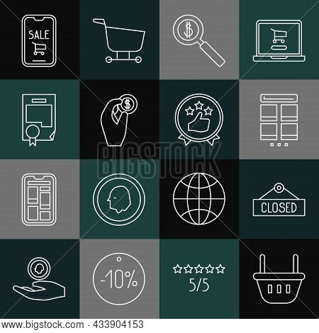 Set Line Shopping Basket, Online Shopping On Mobile, Magnifying Glass And Dollar, Hand Holding Coin