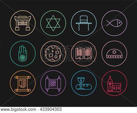 Set Line Church Building, Jewish Kippah With Star Of David, Orthodox Jewish Hat Sidelocks, Moon, Jai