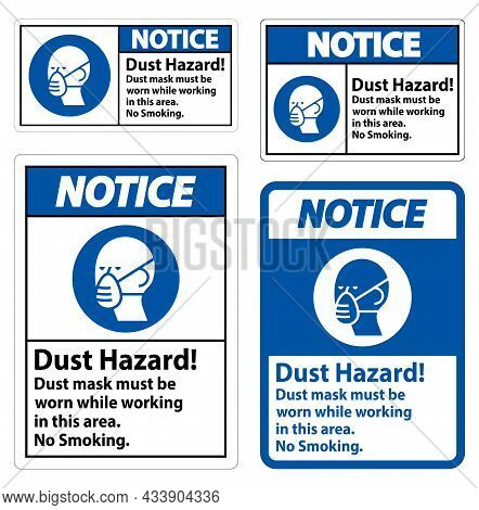 Notice No Smoking Sign Dust Hazard Dust Mask Must Be Worn While Working In This Area