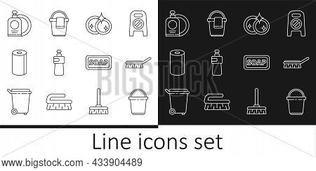 Set Line Bucket, Brush For Cleaning, Washing Dishes, Dishwashing Liquid Bottle, Paper Towel Roll, An