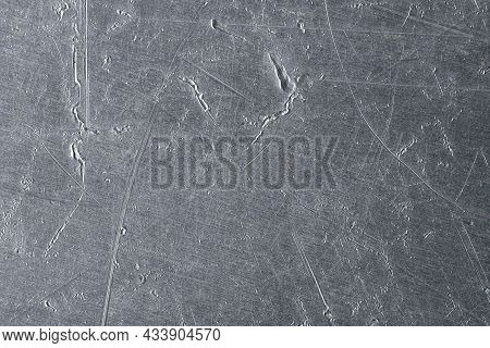 Stainless Steel Or Aluminum Metal Background. Silver Metal Sheet. Grey Metal Texture