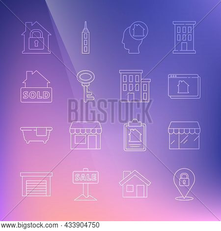 Set Line Location Lock, Market Store, Online Real Estate House, Man Dreaming About Buying, House Key