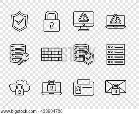 Set Line Cloud Computing Lock, Mail Message Password, Monitor With Exclamation Mark, Laptop And, Shi